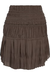 Isabel Marant Alma Ruched And Pleated Crepe Mini Skirt Gray