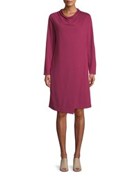 Joan Vass Long Sleeve Drape Front Knit Dress Berry
