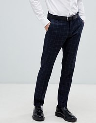 Selected Homme Navy Suit Trouser With Grid Check In Slim Fit Dark Grey