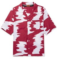 Missoni Camp Collar Printed Voile Shirt Red