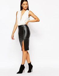 Lipsy Quilted Faux Leather Pencil Skirt With Side Split Zip Black