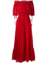 Alexander Mcqueen Cold Shoulder Maxi Dress Women Silk Cotton 38 Red