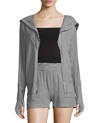Norma Kamali Striped Zip Up Sport Hoodie Stripe Combo