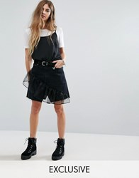 Reclaimed Vintage Levi Denim Mini Skirt With Ruffle Black