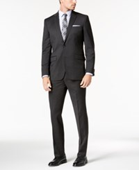 Kenneth Cole New York Slim Fit Stretch Performance Solid Travel Suit Charcoal
