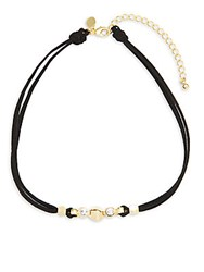 Mhart Swarovski Crystal 18K Gold And Sterling Silver Necklace Black