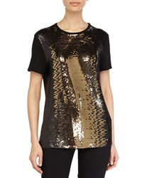 Halston Sequin Embellished Top Dark Gold Black Black Dark Gold