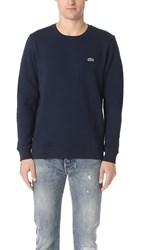 Lacoste Sport Fleece Crew Neck Sweatshirt Navy Blue