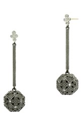 Freida Rothman Industrial Finish Linear Drop Earrings Black Silver