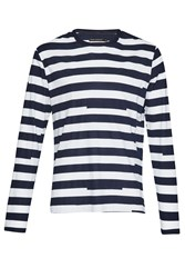 French Connection Men's Ajrakh Block Striped Top White