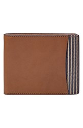 Men's Fossil 'Knox' Bifold Leather Wallet Brown Dark Brown