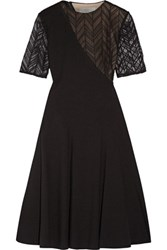 Jason Wu Lace Paneled Stretch Ponte Dress Black