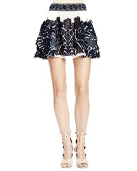 Chloe Chloe Folkloric Patched Lace Skirt Navy And White