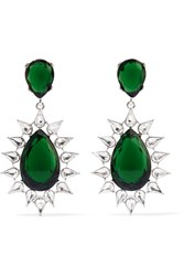 Kenneth Jay Lane Rhodium Plated Crystal Earrings Silver Usd