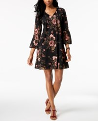 Styleandco. Style Co Petite Printed Bell Sleeve Dress Created For Macy's Horizon Patches