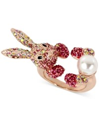 Betsey Johnson Rose Gold Tone Pink Pave And Imitation Pearl Bunny Ring