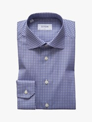 Eton Poplin Medallion Print Slim Fit Shirt Navy