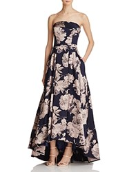 Avery G Aqua Floral Strapless Gown 100 Exclusive Navy Blush