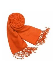 Forzieri Solid Pure Pashmina Fringed Shawl Sunset