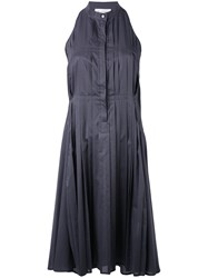 Io Ivana Omazic Pleated Flared Dress Women Cotton 40 Grey