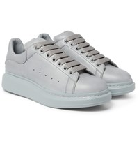 Alexander Mcqueen Exaggerated Sole Leather Sneakers Gray