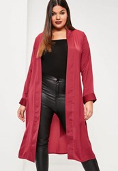 Missguided Plus Size Red Satin Tie Waist Duster Coat Burgundy