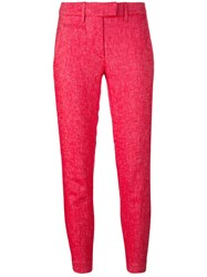 Dondup Cropped Slim Fit Trousers Women Cotton Linen Flax Spandex Elastane 28 Red