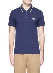 Kenzo Tiger Applique Polo Shirt Blue