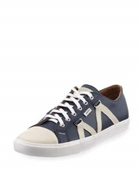 Michael Bastian Signature Leather Lace Up Sneaker Blue