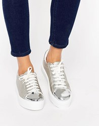 Asos Definitely Lace Up Trainers Silver