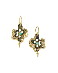 Sueno Star Blue Turquoise And Rainbow Moonstone Doublet Artifact Earrings Armenta