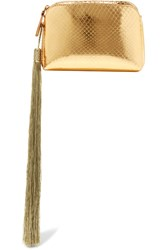 The Row Wristlet Mini Tassled Metallic Ayers Clutch Gold