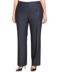 Jones New York Collection Plus Size Sloane Straight Leg Trousers Navy Combo