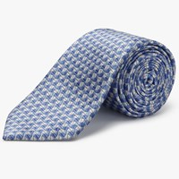 Chester Barrie By Grain Pattern Silk Tie Blue Silver
