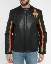 Schott Nyc Black Lambskin Racer Colour Stripes Jacket