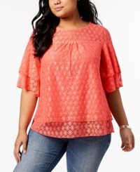 Ny Collection Plus Size Layered Geo Lace Top Pink Eyeline