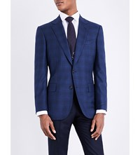 Gieves And Hawkes Checked Tailored Fit Wool Jacket Navy