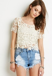 Forever 21 Floral Crochet Boxy Top Cream