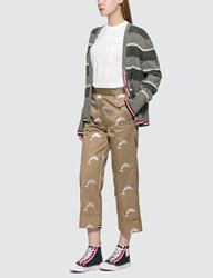 Thom Browne Twill Dolphin Embroidered Chino Trousers Beige