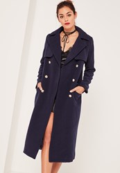 Missguided Caroline Receveur Navy Longline Military Coat