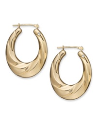 Signature Gold Diamond Accent Oval Drape Hoop Earrings In 14K Gold