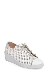 Hispanitas Women's Shelby Perforated Wedge Sneaker White Leather