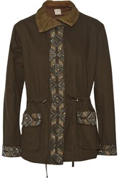 Haute Hippie Beaded Cotton Twill Jacket Green