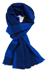 Marc By Marc Jacobs Plaid Wool Scarf Palace Blue Multi