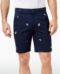 Brooks Brothers Red Fleece Stretch Oyster Embroidered 9 Twill Shorts Navy