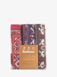 Barbour Boxed Paisley Handkerchiefs Pack Of 3 Red Green Navy