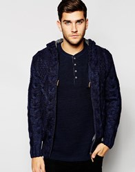 Blend Of America Blend Hooded Cardigan Jersey Lined Heavy Cable Knit Navy