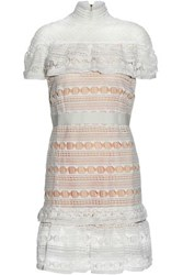Raoul Embroidered Mesh And Crochet Knit Dress Ivory