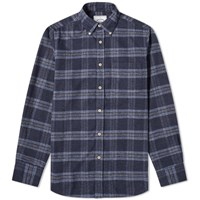 Portuguese Flannel Abstract Button Down Check Shirt Blue