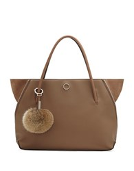 Louise Et Cie Elin Leather And Real Rabbit Fur Tote Brown